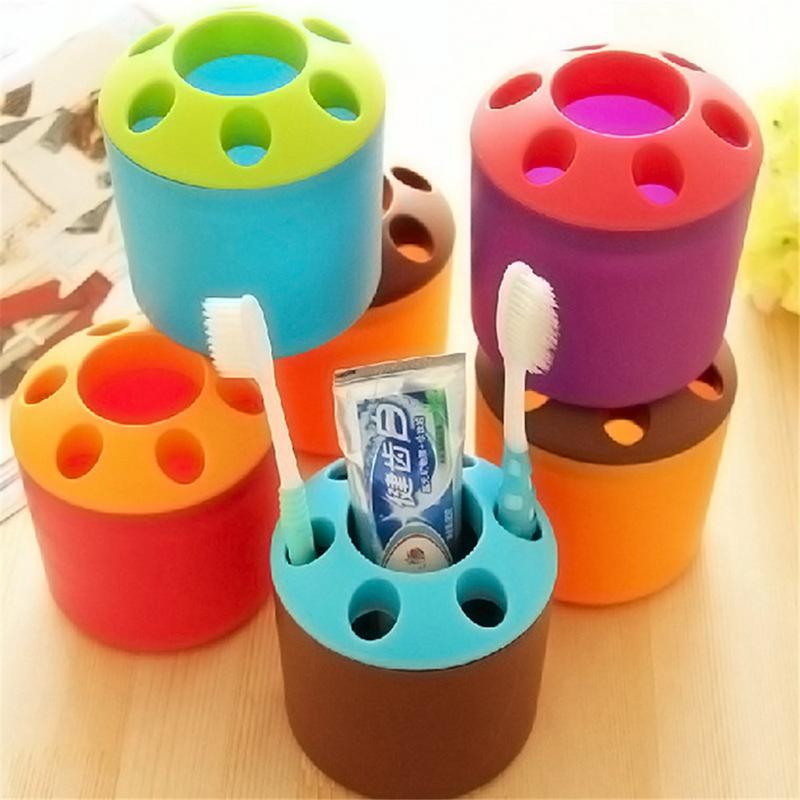 1pc Hole Tooth Brush Cup Toothpaste Toothbrush Holder Seat 6 Hole Couples Multipurpose Candy Colored Toothbrush Storage Holder image