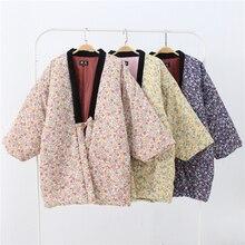Зимнее женское кимоно Haori, толстая теплая хлопковая стеганая куртка, осенняя Повседневная Домашняя одежда, женское однотонное Свободное пальто H9025