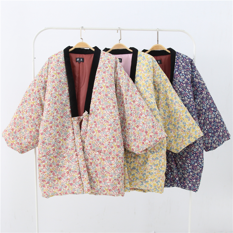 Winter Women Kimono Haori Thick Warm Cotton-Padded Jacket Autumn Casual Home Clothes Female Solid Color Loose Overcoat H9025