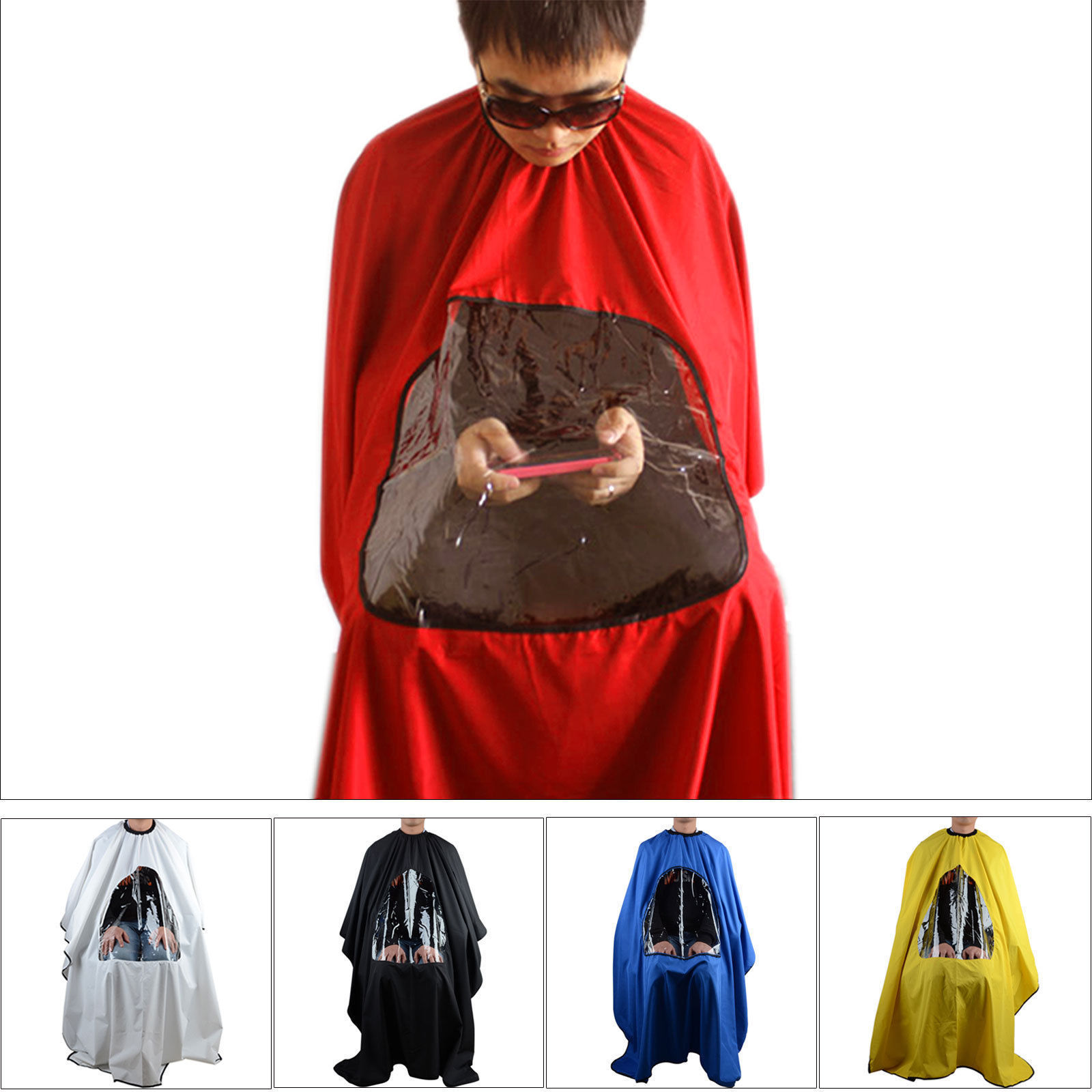Pro Salon Barber Hair Cutting Gown Cape With Viewing Window Hairdresser Wrap Apron(China)