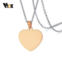 "Vnox Classic Plain Heart Pendants for Women Men Necklace Stainless Steel 5 Colors for Options with Free 20"" Chain(China)"