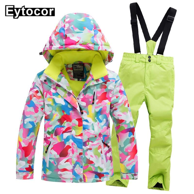 EYCOTOR Kids Ski Suit Children Brands Windproof Waterproof Warm Girls And Boy Snow Set Pants Children Snow Suit Ski Jacket Coats