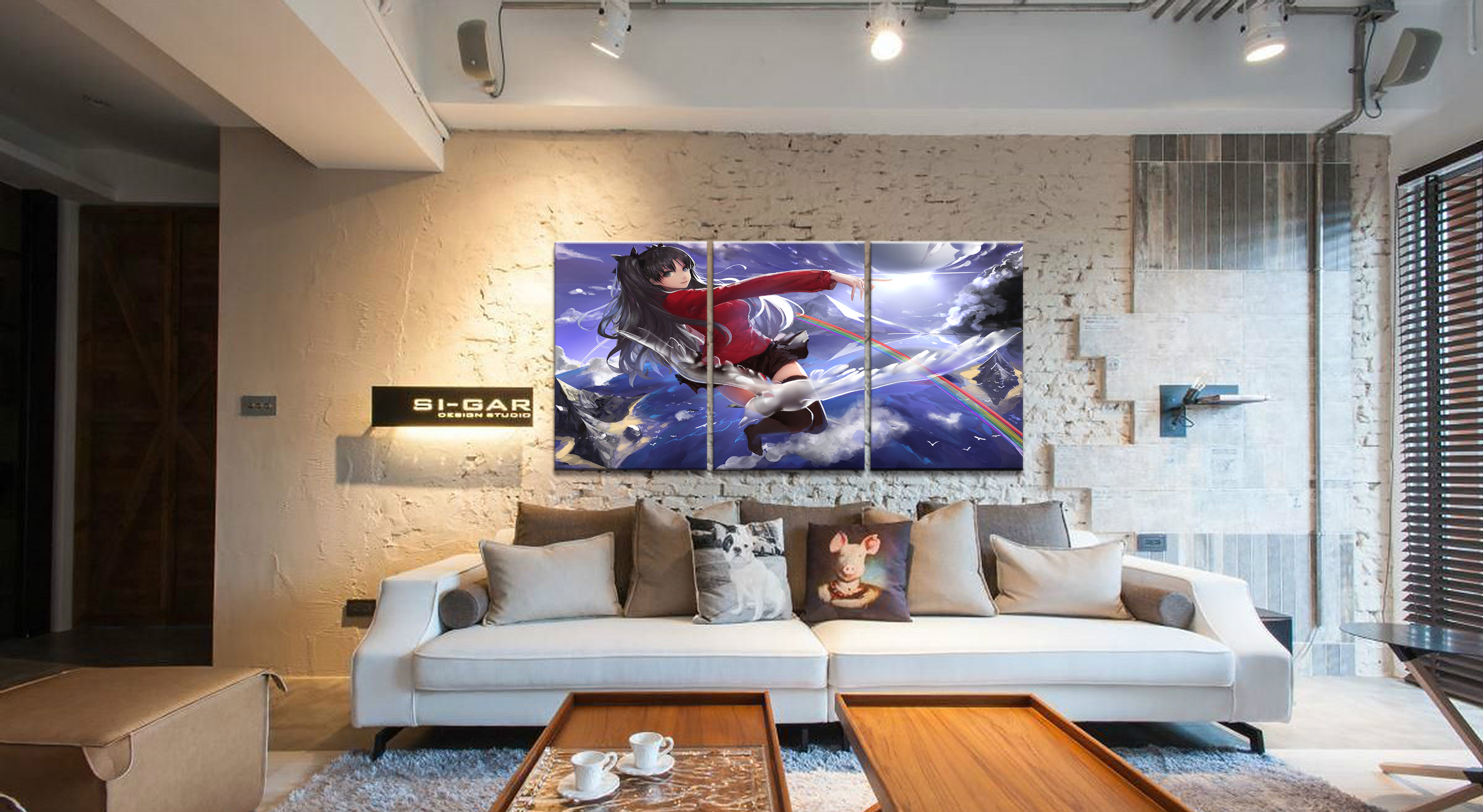 Home Decor Modular Canvas Picture 3 Piece Fate Stay Night Rin Tohsaka Animation Painting Poster Wall For Home Canvas Wholesale in Painting Calligraphy from Home Garden