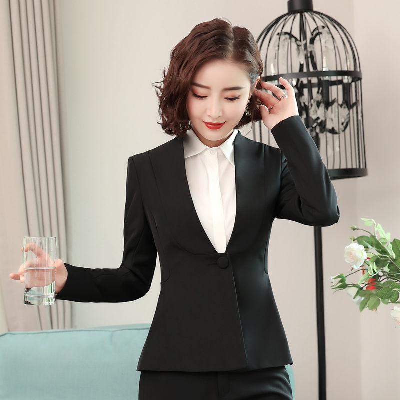 Elegant ladies fashion long sleeve V neck blazer women slim formal business suit jacket office ladies plus size work wear coat