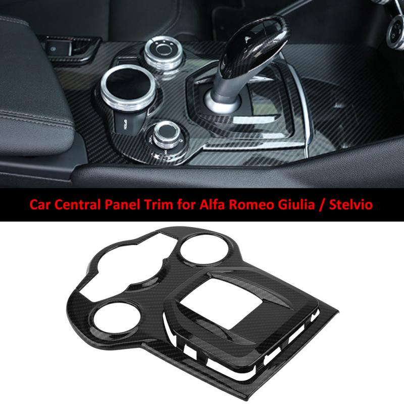 Carbon Fiber Style ABS Car Interior Center Console Gear Shift Panel Trim for Alfa Romeo Giulia 2016 2017 2018 Stelvio 2017 2018