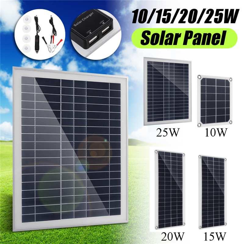 Double USB interface12V/5 V panneau solaire 10/15/20/25 W cellule en polysilicium pour batterie chargeurs de téléphone portable allume-cigare