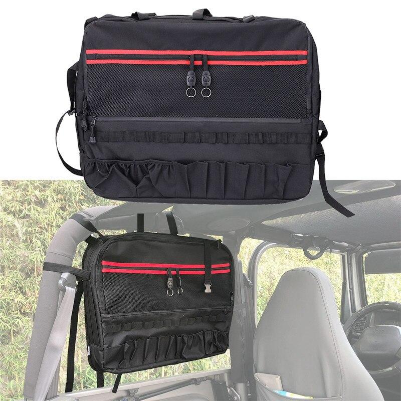 Rear Side Roll Bar Cage Organizer Storage Bag Multi-Pockets Cargo Bag Saddlebag For 1997-2018 Jeep Wrangler TJ JK 2 door