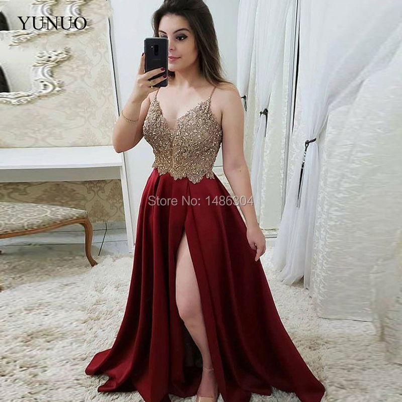 Burgundy Evening Dresses 2019 A-line Spaghetti Straps Satin Lace Slit Long Evening Party Gown Prom Dress Abendkleider
