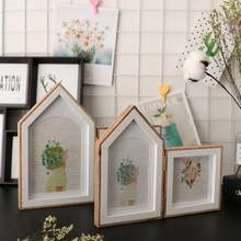 Wooden Photo Frame 2 Opening Hinged Double-sided House Shape Picture Frames For wedding Baby Pictures Home decoration Gift(China)