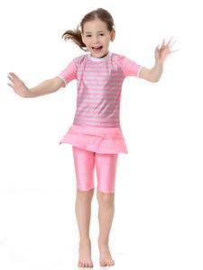 Image 3 - Kinder Mädchen Bademode Modest Islamischen Muslimischen Kurzarm Tops + Hosen Badeanzug Strand Schwimmen Anzug