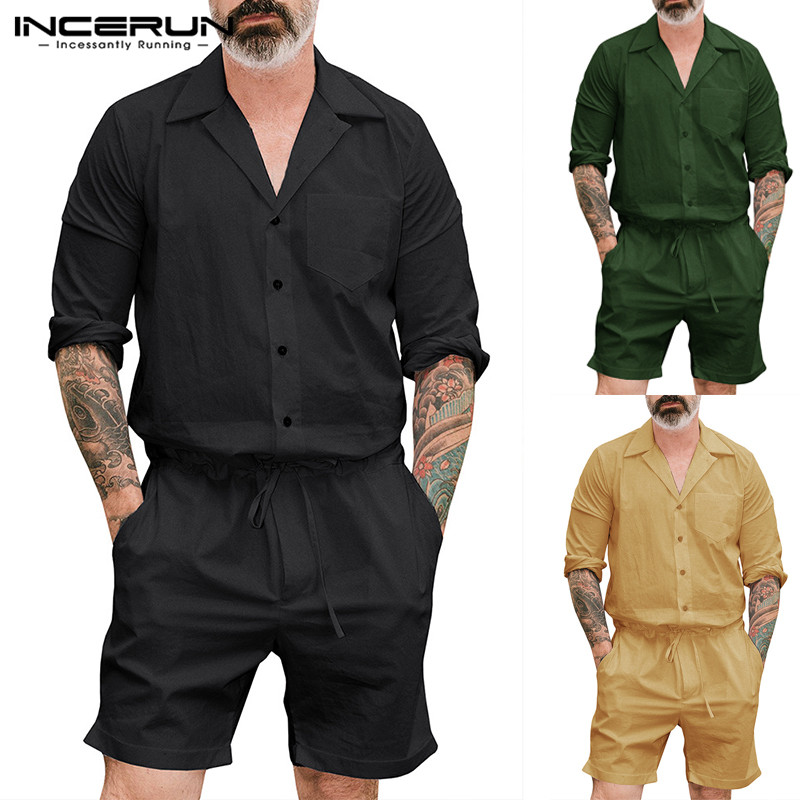 Punk 2019 Overalls Jumpsuit Long Sleeve Men Cargo Pant Suits Men Rompers Overalls Pockets Pants Loose Jumpsuit Msculina Jogger