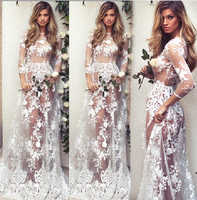 New arrival Sexy Women's Summer Floral Long Dress Casual Ladies Clothing Long Sleeve Hollow Out Lace Clothes