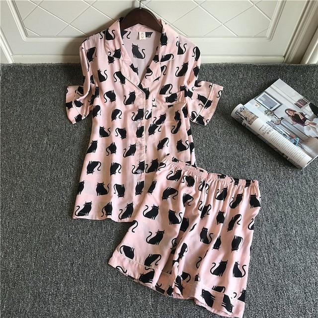 2019 נשים פיג מה סטי עם מכנסיים קצרים חמוד כותנה פרח הדפסת קצר שרוול Pyjama קיץ Nightsuits פיג מה לנשים