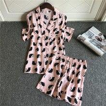 Şort Ile 2019 Kadın Pijama Setleri Sevimli Pamuk Çiçek Baskı Kısa Kollu Pijama Yaz Nightsuits Kadınlar Için Pijama