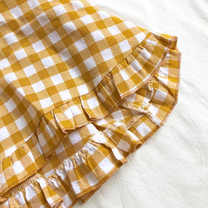 2019 летнее корейское модное клетчатое платье с оборками в клетку, платье трапециевидной формы, женское платье, Vestidos Verano 2019