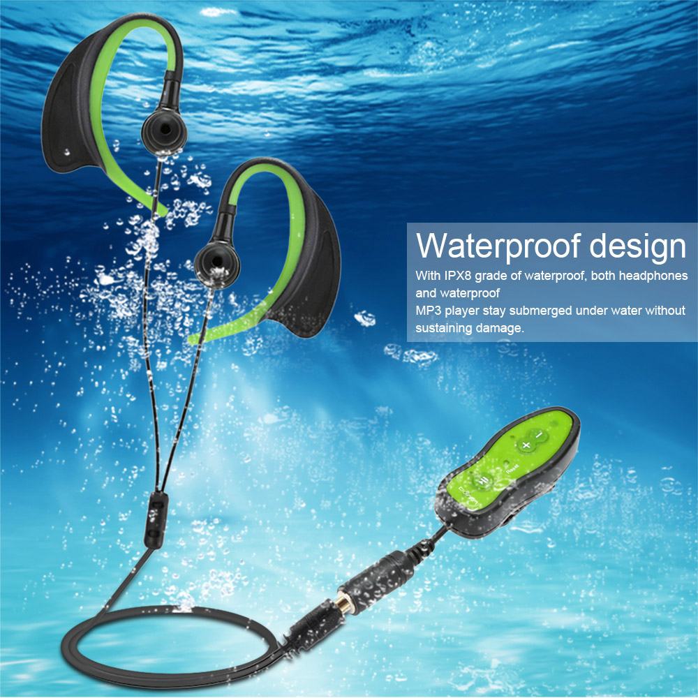 Mp3-Player Headphone Swimming-Diving-Ipx8 Outdoor Waterproof Running Sport Mini 8GB  title=
