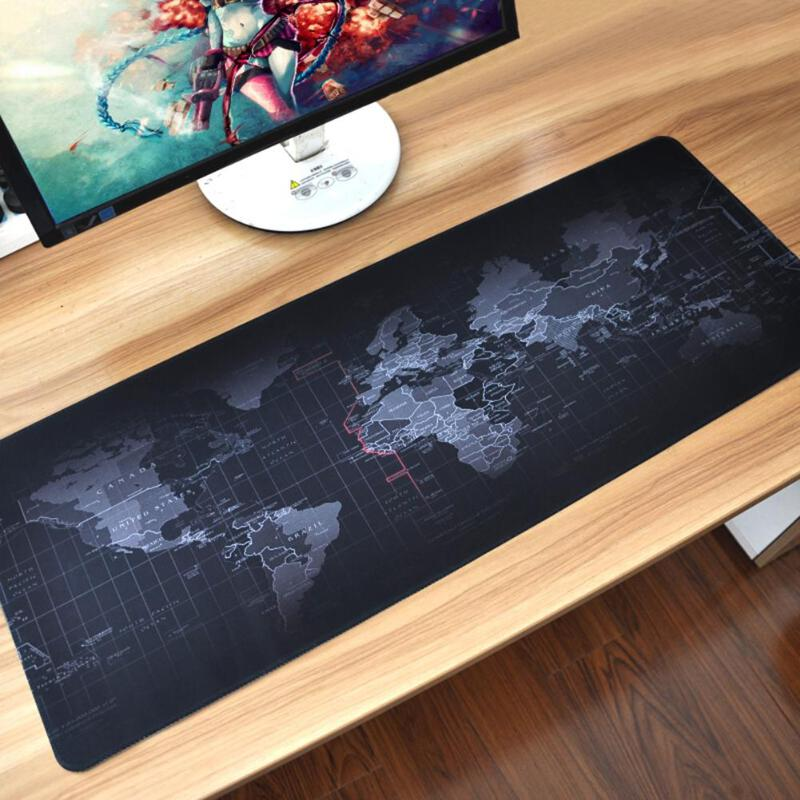 VODOOL Extra Large Mouse Pad World Map Mousepad Anti-slip Natural Rubber Gaming Mouse Mat W Locking Edge For Office/Game/Desktop