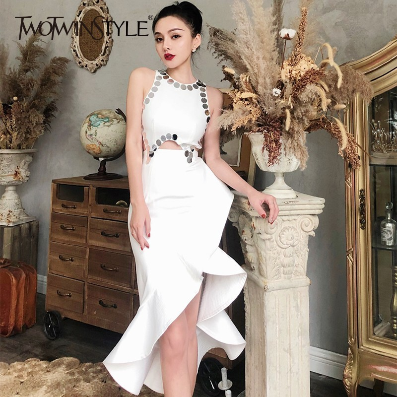 TWOTWINSTYLE Sexy Sequins Patchwork Party Dress For Women Sleeveless O Neck Hollow Out Mermaid Female Dresses