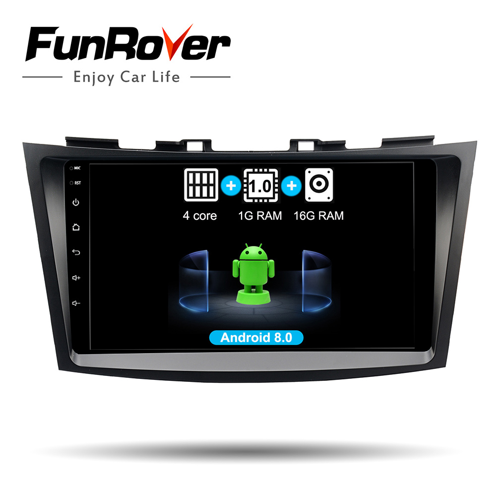 Funrover Quad core 2 din Android 8.0 Car dvd gps player For Suzuki Swift 2011 2015 car radio Multimedia Navigation stereo rds bt