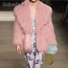TWOTWINSTYLE Double Faced Faux Fur Coat Female Long Sleeve Oversized Plus Thick Pink Women's Overcoat Autumn Winter 2018 Fashion
