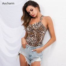 Aocharm Leopard One Shoulder Backless Bodysuit Women Summer Beach Hot Bodysuits Sexy Cami Skinny Bodysuit Female cross wrap fitted cami bodysuit