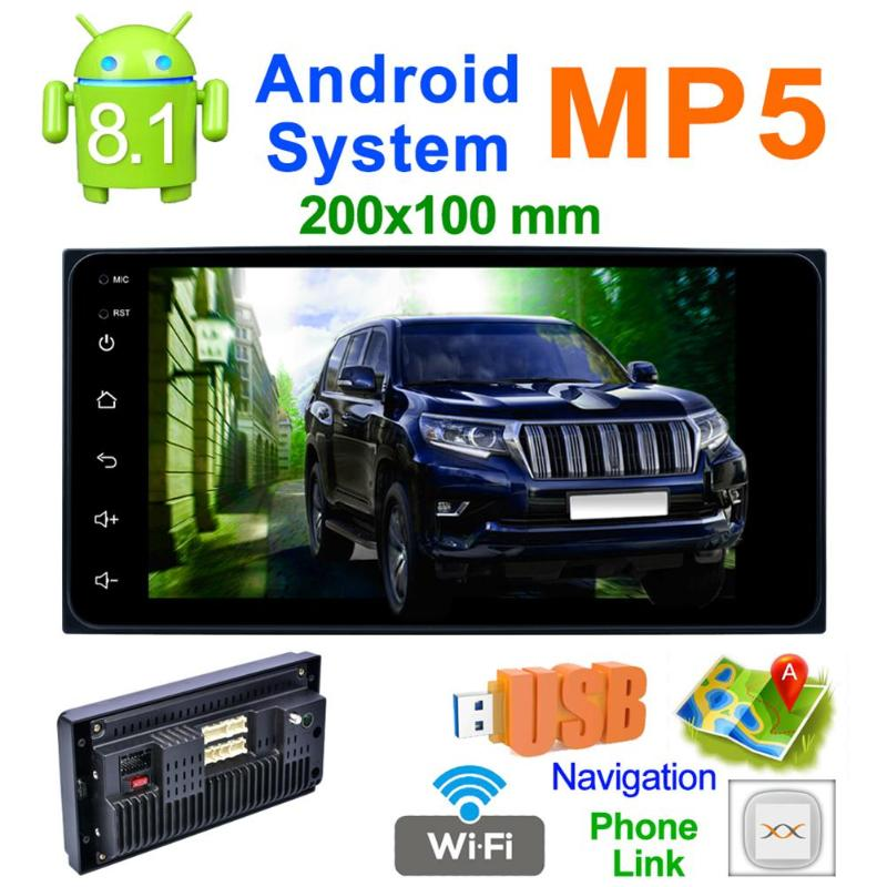 2 Din 200*100 7 inch Touch Screen Quad Core Android 8.1 Car MP5 Player GPS FM WiFi Bluetooth Video Media Player For Toyota image