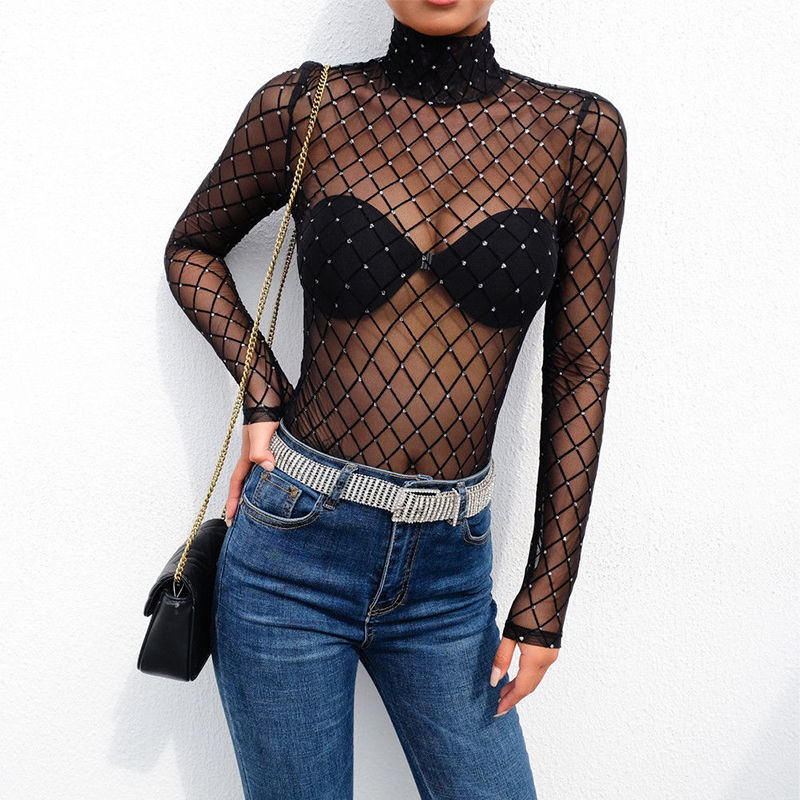 Lower Price with 2019 New Women Sexy Sheer Mesh Bodysuit Lace Jumpsuit Long Sleeve Top Turtleneck Black Ladies Costume Party Summer Fashion New Women's Clothing