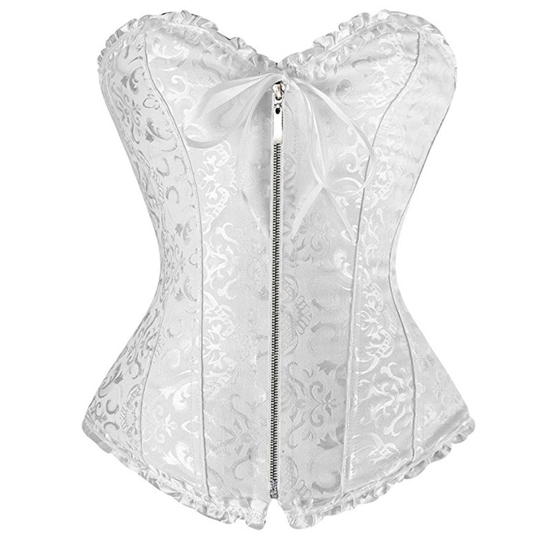 Bustier     Corset   Top Women Sexy Lingerie White Vintage Floral Print Fashion Black Gothic Zipper Lace Up Corselets Underwear Female