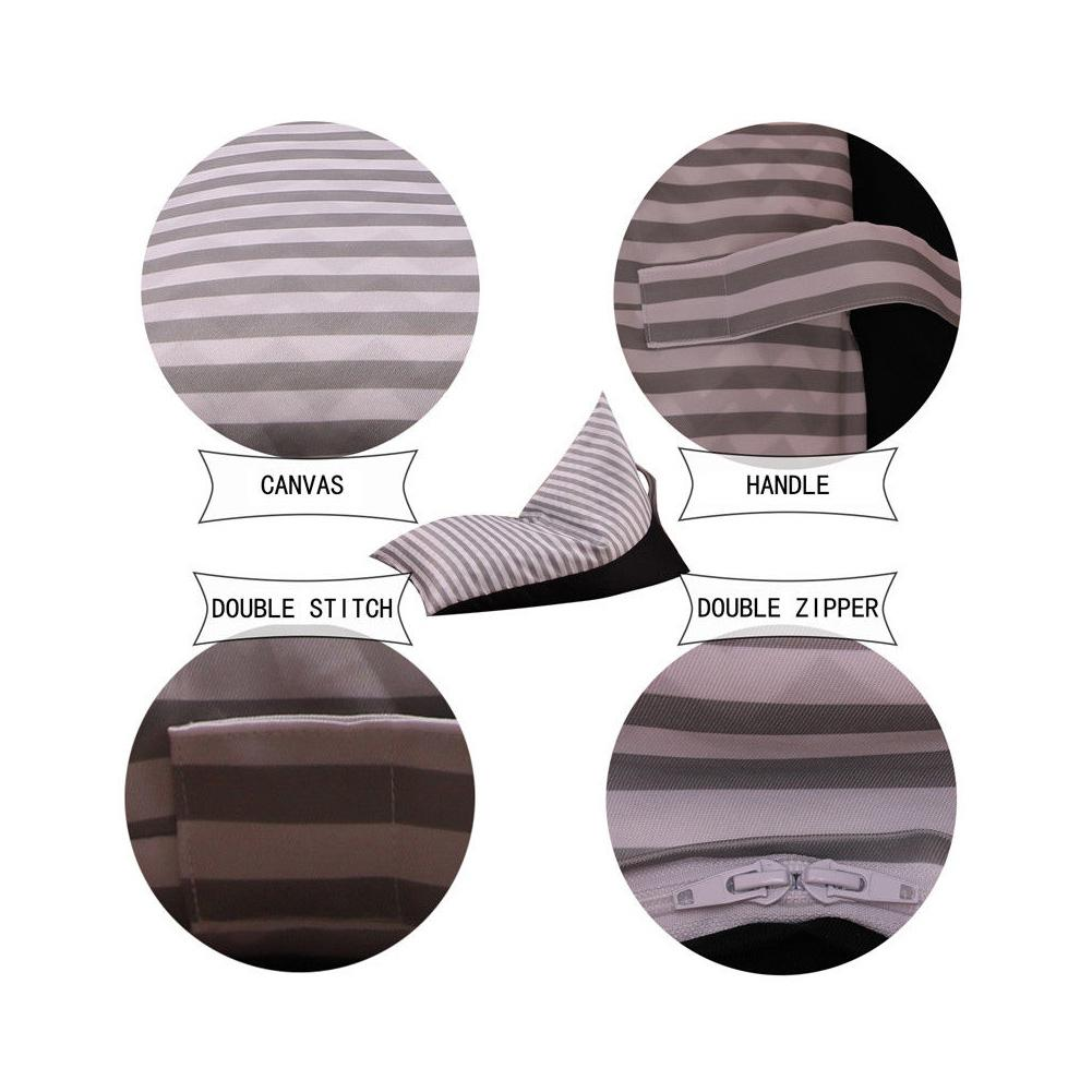 Image 2 - Storage Bean Bag Large Chair Stripe Pouch Chair Sofa Stuffed Toy Storage Bag Back Support-in Bean Bag Sofas from Furniture