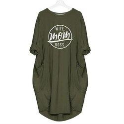 2019 moda T-Shirt dla kobiet kieszeń żona mama BOSS litery T-Shirt z nadrukiem bluzka w rozmiarze plus size koszulki z nadrukami kobiet Off The Shoulder 4