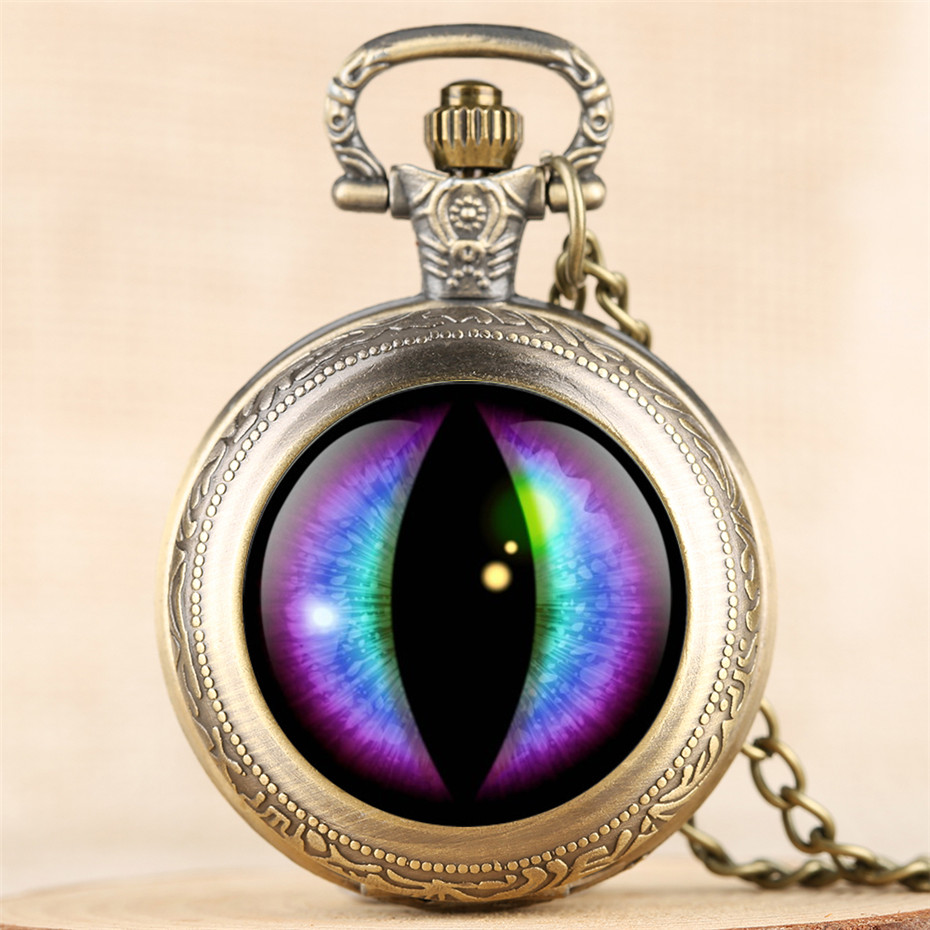 Vintage Creative Eye Design Quartz  Pocket Watch Men Women Steampunk Exquisite Pendant Clock 4 Colors Fob Necklace Chain Retro