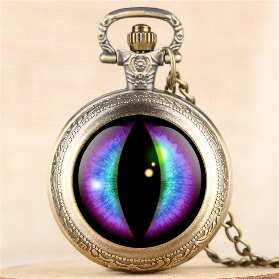 W stylu Vintage kreatywny oko projekt kwarcowy zegarek kieszonkowy mężczyźni kobiety Steampunk wykwintne wisiorek zegar 4 kolory Fob naszyjnik łańcuch Retro
