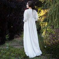 Women Medieval V neck Empire Long Dress 2019 Spring Elegant Long Sleeve A line Dresses Irregular Solid Costume