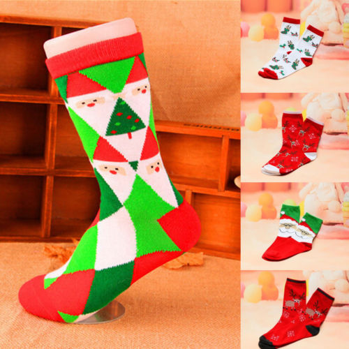 Christmas Socks Hot Winter Warm Christmas Cartoon Print Long Socks Women Girls Gift