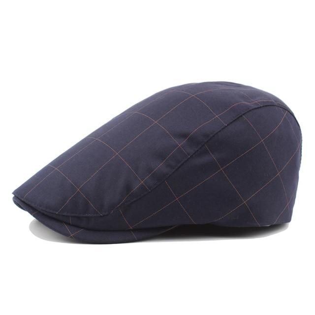 Vintage Plaid moda gorras para Mujeres Hombres artista plana sombrero  diseño francés boina sombrero Inglaterra pico e22e844c681