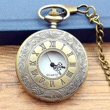 2019 Antique Vintage Bronze Número Roman Colar Quartzo Relógio de Bolso Cadeia mulheres e homens de cor arma poket assista presente de aniversário