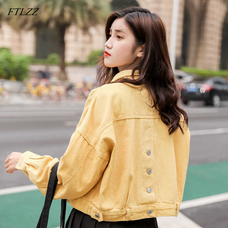 FTLZZ New Womens Basic Denim Jacket Spring Autumn Loose Single Breasted Short Ladies Jean Coat Female Top Outwear