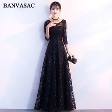 цена BANVASAC Sequined O Neck Lace Appliques A Line Long Evening Dresses Party Bow Sash Illusion Zipper Backless Prom Gowns