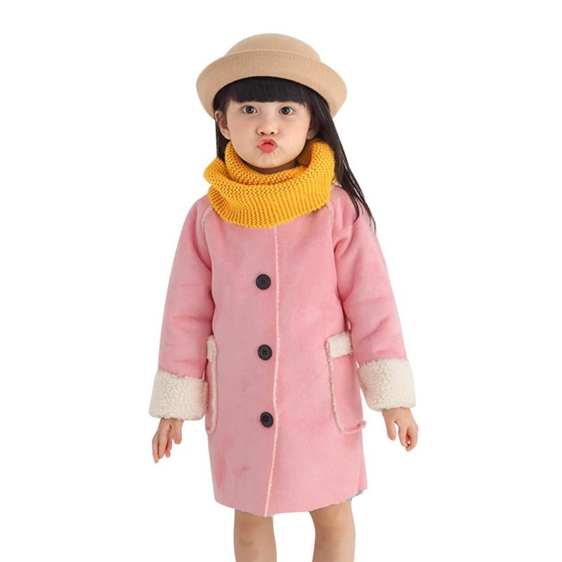 Baby Fleece Jacket Front Button Pockets Kids Cute O-Neck Girls Thicken Coat Solid Color Sweet Fashion Outerwear