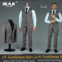 1/6 Scale Male Clothes Set Grey Gentleman Suit 2.0 V1005B & Shoes Accessory Model Fit 12 Male Action Figure Model collection
