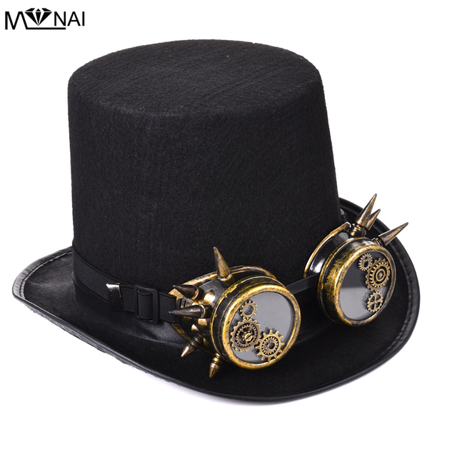 Super Vintage Men Women Steampunk Top Hat Gears Studs Goggles Cosplay #JE63
