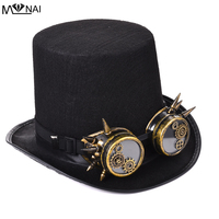 Vintage Men Women Steampunk Top Hat Gears Studs Goggles Cosplay Costume Gothic Hat With Glasses Punk Accessories