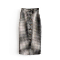 European And American Women 2019 Spring Autumn New Style High Waist Single Breasted Houndstooth Skirt Skirts Women