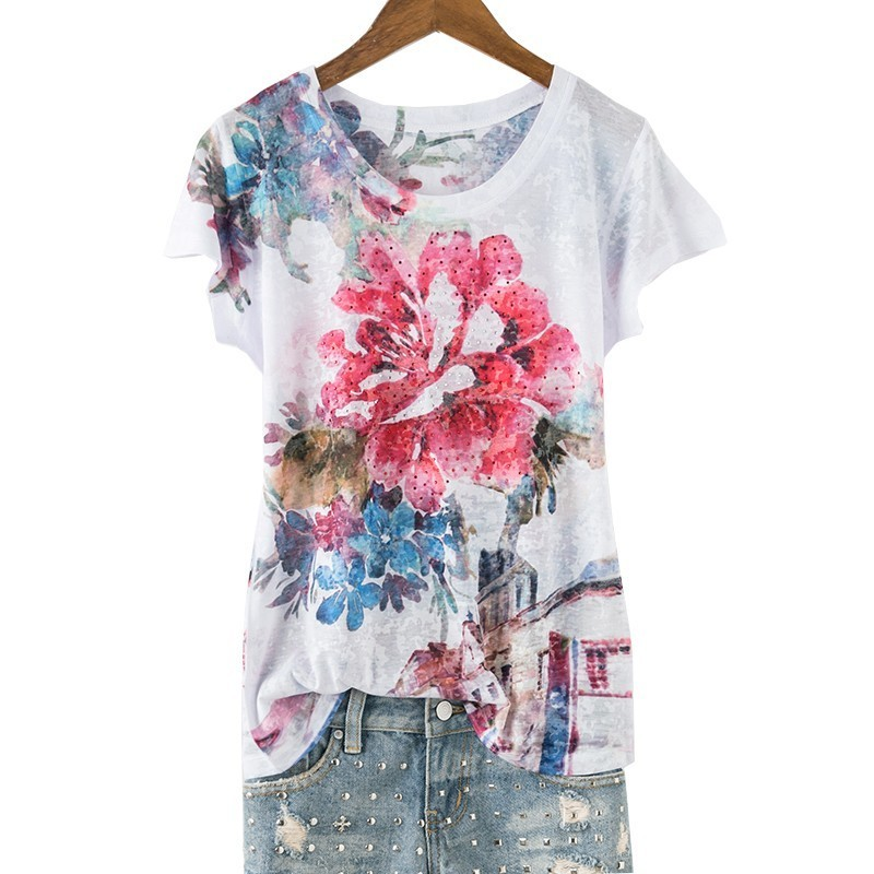 Double floral print slim t shirt women Plus size 5XL short sleeve fashion hot drilling tops 2019 new arrivals