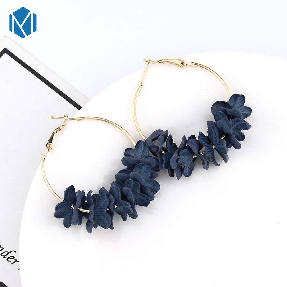 Baru Fashion Kain Bunga Drop Anting-Anting Bohemian Anting-Anting Colorful Petal Lingkaran Besar Paduan Anting-Anting Perhiasan Boucle D'oreille