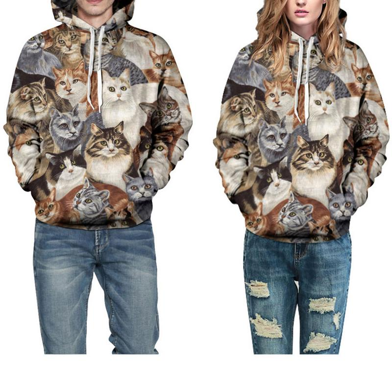 Explosion Models 3D Star Cat Digital Printing Hooded Sweater Foreign Trade Tide Brand Lovers Baseball Uniform Couple Hooded