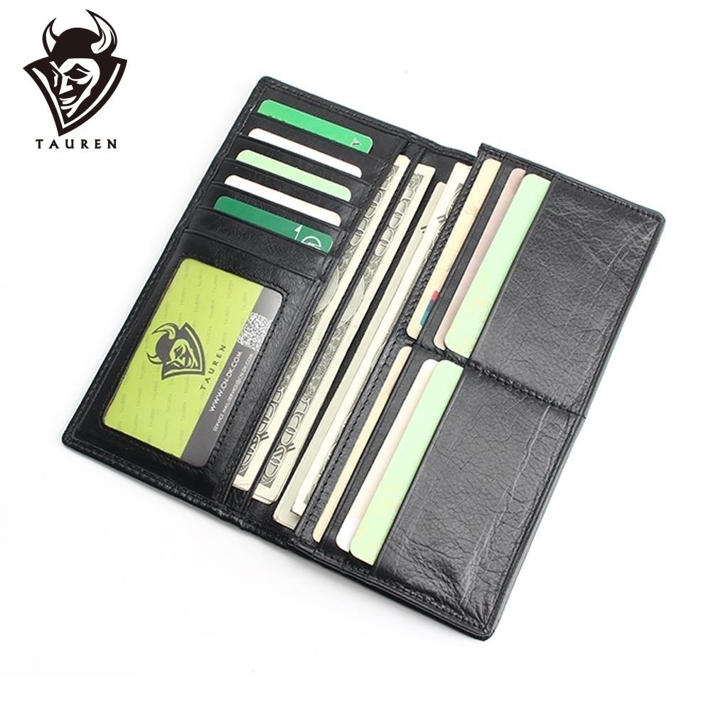 असली लेदर पुरुषों की वॉलेट लंबी डिज़ाइन मल्टीफंक्शनल पुरुष पर्स ब्लैक बिलफोल्ड कार्ड होल्डर्स फॉर मेन सॉलिड पॉकेट काउ लेदर