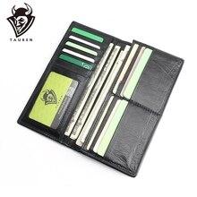 Genuine Leather Men's Wallet Long Design Multifunctional Men Purse Black Billfold Card Holders For Men Solid Pocket Cow Leather