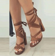Sexy Brown Suede Ankle Strap Lace-Up Chunky Heel Gladiator Sandals Plus Size Women Square Heels Sandals Summer Dress Shoes women square heels sandals sexy rose gold patent leather ankle strap cut out peep toe chunky heel summer dress shoes plus size