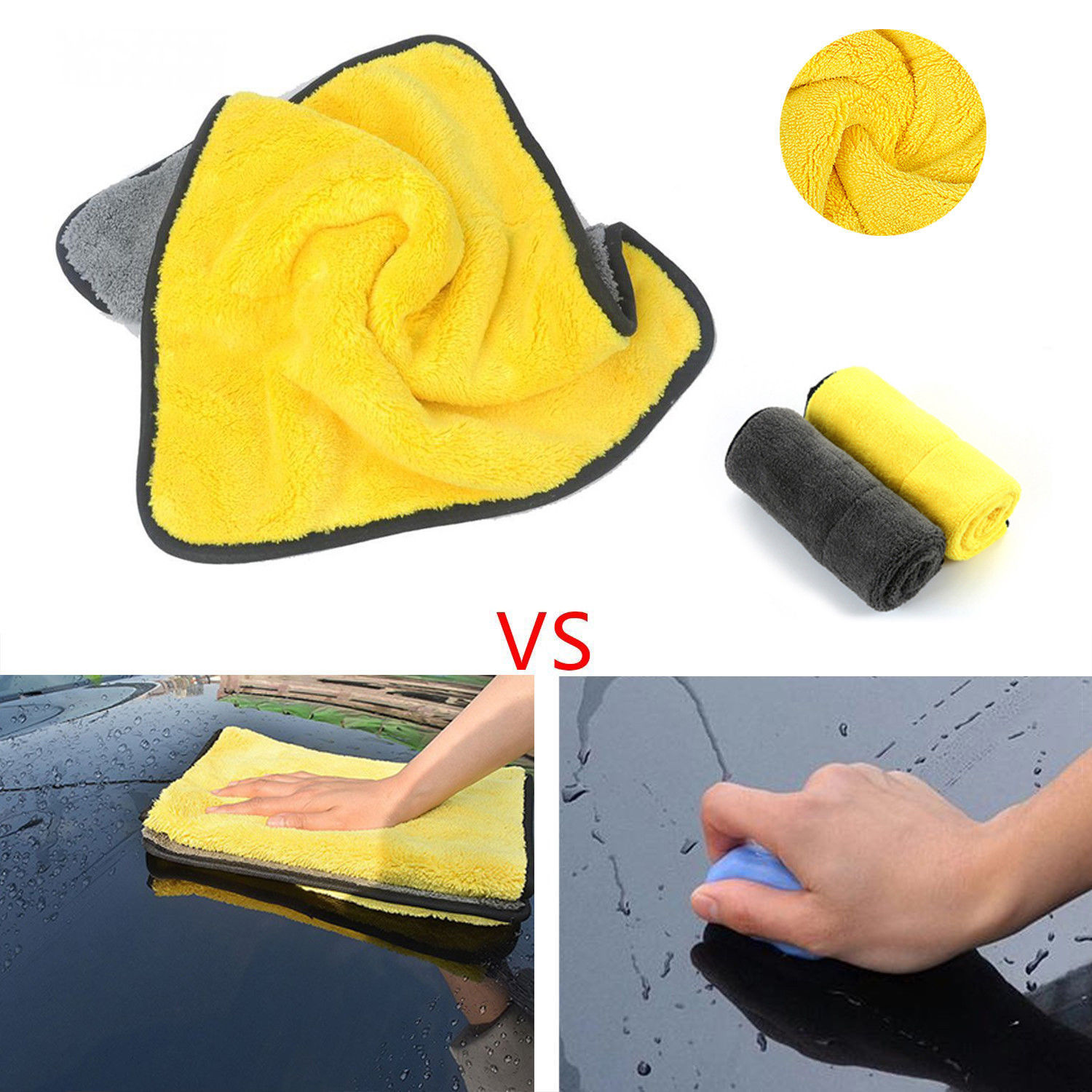 4 Size Super Absorbent Car Wash Cloth Microfiber Towel Cleaning Drying Cloths Rag Detailing Car Towel Car Care Polishing 2